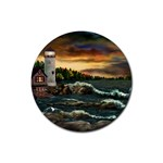 David s Lighthouse by Ave Hurley - Rubber Round Coaster (4 pack)