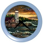 David s Lighthouse by Ave Hurley - Color Wall Clock