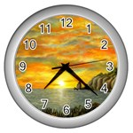 Sunset Of Hope  Wall Clock (Silver)
