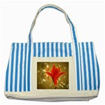 Jd 300 001 Joyce Dickens Almost A Blossom In Bubbles Striped Blue Tote Bag
