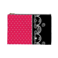 Lace Dots With Black Pink Cosmetic Bag (large) by strawberrymilk