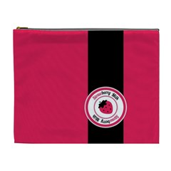 Brand Ribbon Black With Pink Cosmetic Bag (xl) by strawberrymilk