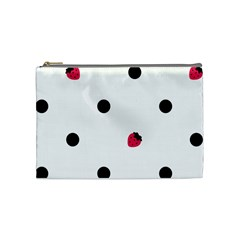 Strawberry Dots Black Cosmetic Bag (medium) by strawberrymilk
