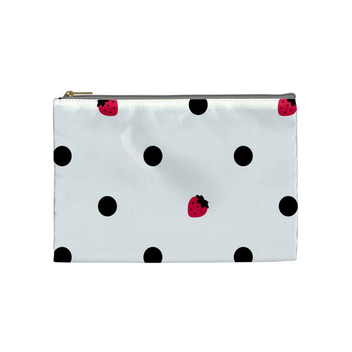 Strawberry Dots Black Cosmetic Bag (Medium)