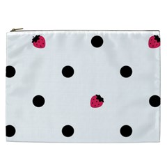 Strawberry Dots Black Cosmetic Bag (xxl) by strawberrymilk