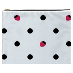 Strawberry Dots Black Cosmetic Bag (xxxl) by strawberrymilk