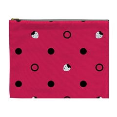 Strawberry Dots Black With Pink Cosmetic Bag (xl) by strawberrymilk