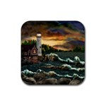 David Bowman Lighthouse Rubber Square Coaster (4 pack)