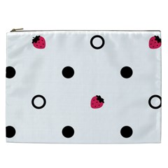Strawberry Circles Black Cosmetic Bag (xxl) by strawberrymilk