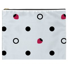 Strawberry Circles Black Cosmetic Bag (xxxl) by strawberrymilk