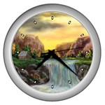 Brenton s Waterfalls by Ave Hurley - Wall Clock (Silver)