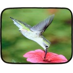 Hummingbird Catching Sweet From Flower Mini Fleece Blanket(Two Sides)