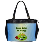Keep Calm Be Happy Pig Humor Oversize Office Handbag (One Side)