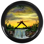 Edwina s Waterfalls   By Ave Hurley Wall Clock (Black)