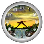 Edwina s Waterfalls   By Ave Hurley Wall Clock (Silver)