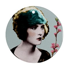 Art Deco Woman in Green Hat Ornament (Round) from Aussie Custom Gifts Front