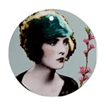 Art Deco Woman in Green Hat Ornament (Round)
