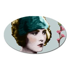 Art Deco Woman in Green Hat Magnet (Oval) from Aussie Custom Gifts Front