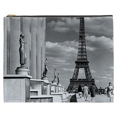 Vintage France Paris Eiffel Tour Chaillot Palace 1970 Cosmetic Bag (xxxl) by Vintagephotos