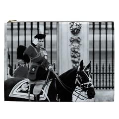 Vintage Uk England  Queen Elizabeth 2 Buckingham Palace Cosmetic Bag (xxl) by Vintagephotos