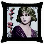 Art Deco Woman in Purple Velvet Throw Pillow Case (Black)