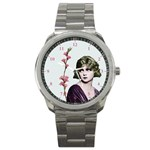 Art Deco Woman in Purple Velvet Sport Metal Watch