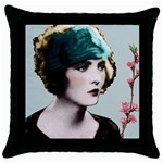 Art Deco Woman in Green Hat Throw Pillow Case (Black)