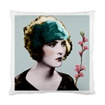 Art Deco Woman in Green Hat Cushion Case (Two Sides)