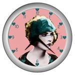Art Deco Woman in Green Hat Wall Clock (Silver)