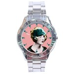Art Deco Woman in Green Hat Stainless Steel Analogue Men's Watch