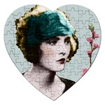 Art Deco Woman in Green Hat Jigsaw Puzzle (Heart)