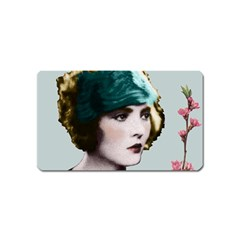 Art Deco Woman in Green Hat Magnet (Name Card) from Aussie Custom Gifts Front