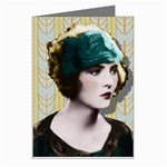 Art Deco Woman in Green Hat Greeting Card