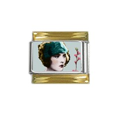 Art Deco Woman in Green Hat Gold Trim Italian Charm (9mm) from Aussie Custom Gifts Front