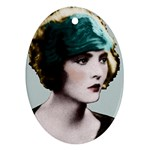 Art Deco Woman in Green Hat Ornament (Oval)
