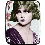 Art Deco Woman in Purple Velvet Mini Fleece Blanket(Two Sides)