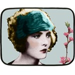 Art Deco Woman in Green Hat Mini Fleece Blanket(Two Sides)