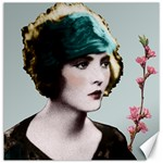 Art Deco Woman in Green Hat Canvas 12  x 12