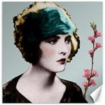 Art Deco Woman in Green Hat Canvas 16  x 16