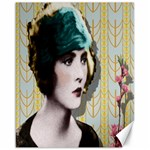 Art Deco Woman in Green Hat Canvas 16  x 20