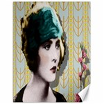 Art Deco Woman in Green Hat Canvas 18  x 24
