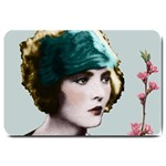 Art Deco Woman in Green Hat Large Doormat