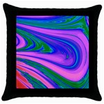 Psychedelic Pink Swirl Throw Pillow Case (Black)