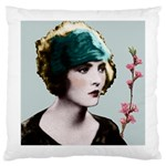 Art Deco Woman in Green Hat Large Cushion Case (Two Sides)