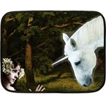 Girl & Her Unicorn Mini Fleece Blanket(Two Sides)