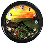 Eileen s Sunset By Ave Hurley   Wall Clock (Black)