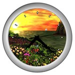 Eileen s Sunset By Ave Hurley   Wall Clock (Silver)
