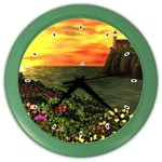 Eileen s Sunset By Ave Hurley   Color Wall Clock