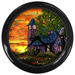 Jessica s Cottage Lighthouse Wall Clock (Black)