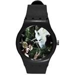 Girl & Her Unicorn Round Plastic Sport Watch Medium
